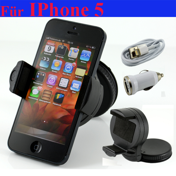 iphone 5 halterung halter 2in1 lightning kabel ladeger t ladekabel usb kfz auto ebay. Black Bedroom Furniture Sets. Home Design Ideas