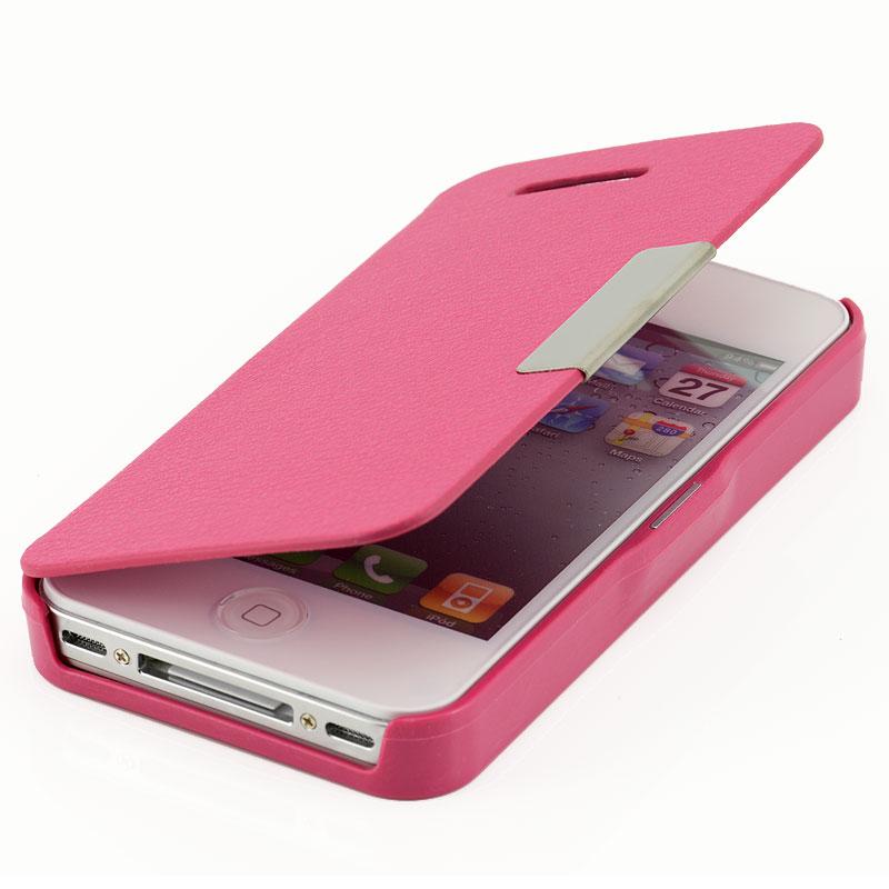 apple iphone 4 4s flip cover 59 pink case schutz h lle. Black Bedroom Furniture Sets. Home Design Ideas