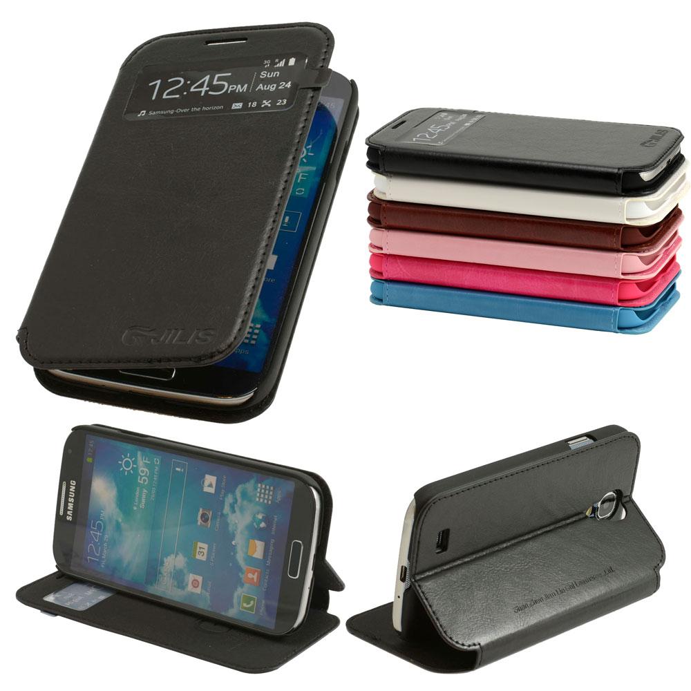 S-View-Leder-Tasche-Samsung-Galaxy-S4-i9500-Schutz-Huelle-Etui-Case-Cover-Folie